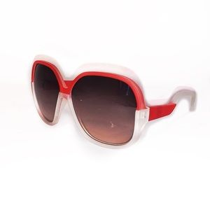 Kate Spade Chic Round Sunglasses Red And White